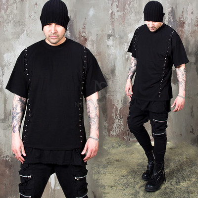Double studded line black t-shirts