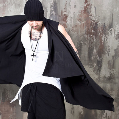 Avant-garde black open shawl vest