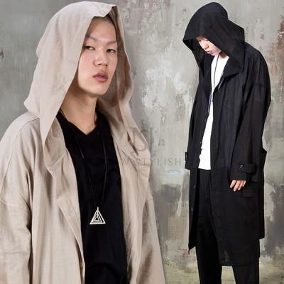 Avant-garde big hooded linen long coat