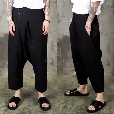 Diagonal wrap type baggy pants