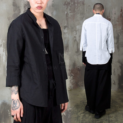 Mandarin collar linen elbow shirts