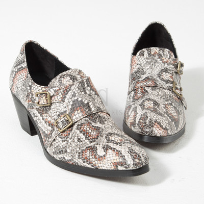 Gray snake patterned leather monk strap high heel shoes