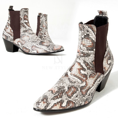 Snake patterned high heel banded ankle boots