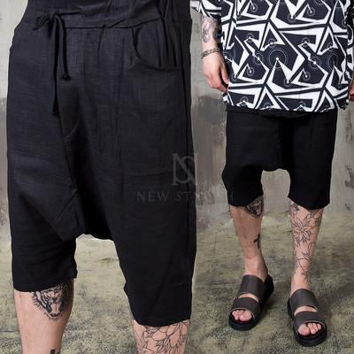 Linen black baggy shorts