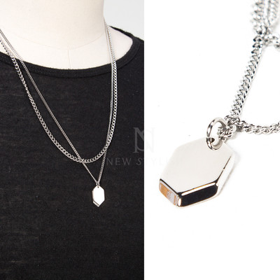 Hexagon metal charm double chain necklace