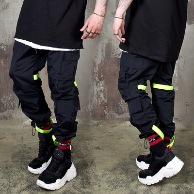Contrast strap cargo banded pants