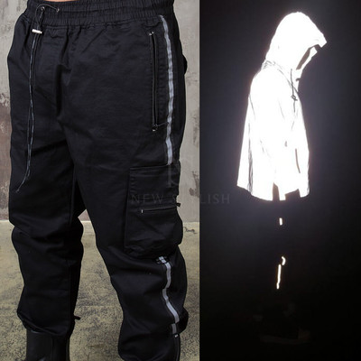 Reflective line accent baggy pants