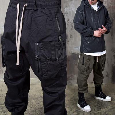 Zippered big cargo pocket baggy pants