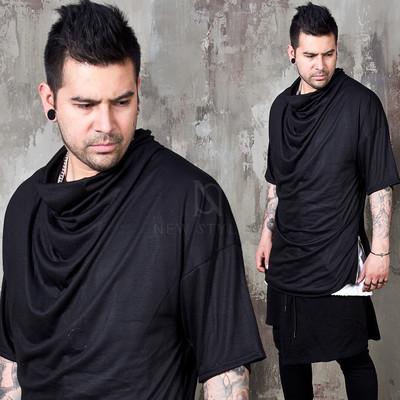 Side opening shirring turtle neck shirts
