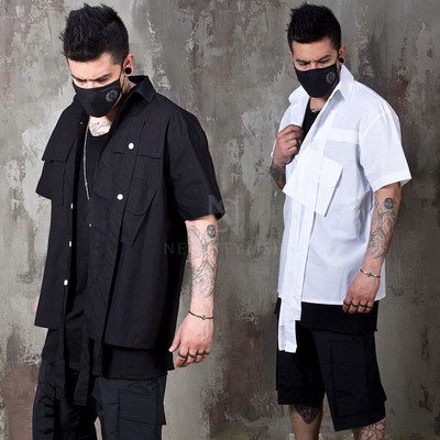 Double long strap cargo pocket shirts