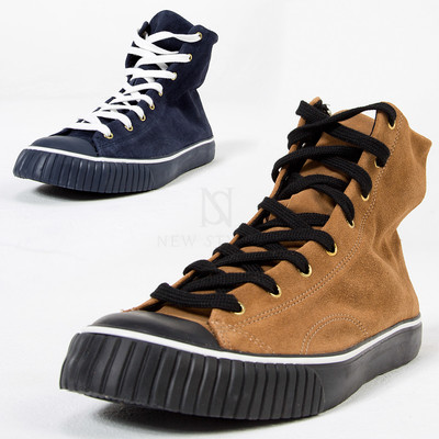 Contrast suede loose hightop sneakers