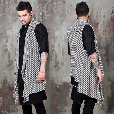 Asymmetric striped shawl long vest