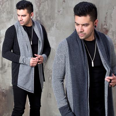 Asymmetric contrast shawl cardigan