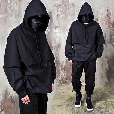 Contrast layered string hem hoodie