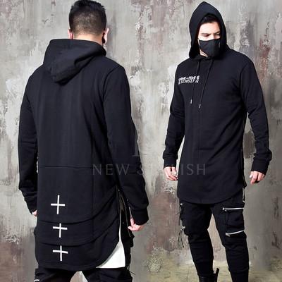 Triple round hem layered hoodie