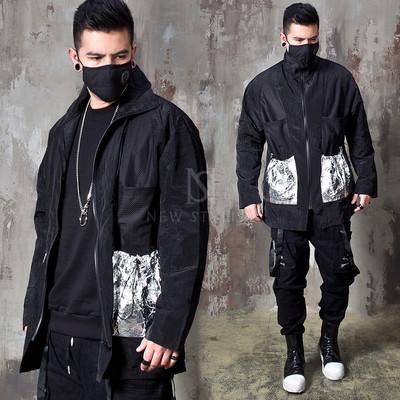 Silver pocket high neck zip-up windbreaker jacket