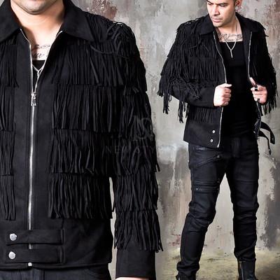 Suede fringe black zip-up jacket