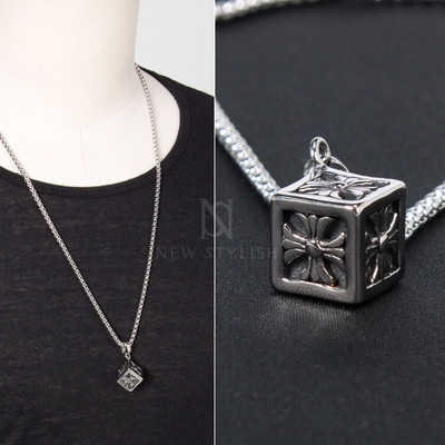 Celtic cross cube charm chain necklace