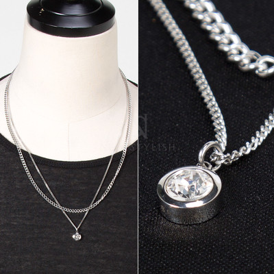Round cubic charm double chain necklace