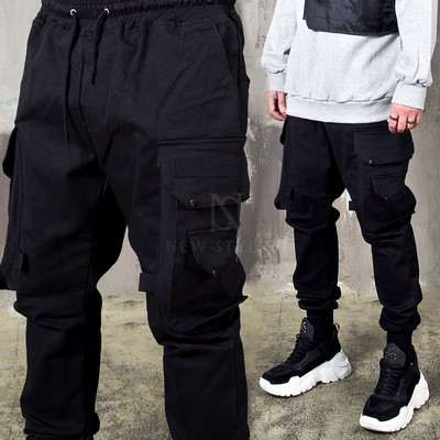 Big double cargo pocket banded pants