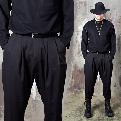 Double pleated baggy pants