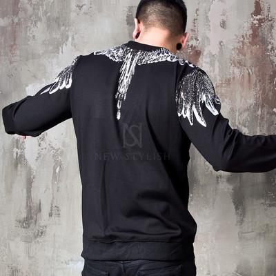 Beads studded wing sweatshirts