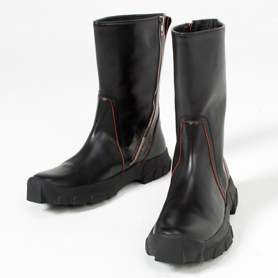 Contrast red lined thick sole leather boots