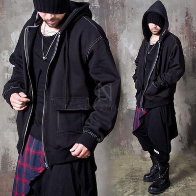 Stitch line black zip-up hoodie