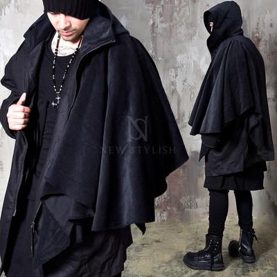 Avant-garde corduroy drape hooded jacket