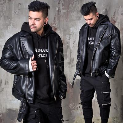 Loose fit black leather rider jacket