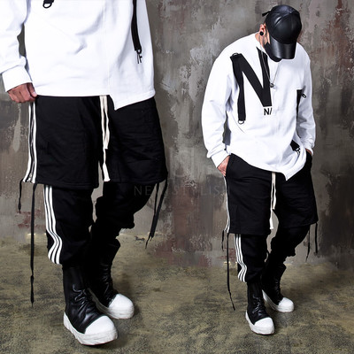 Double layered contrast lined banded pants
