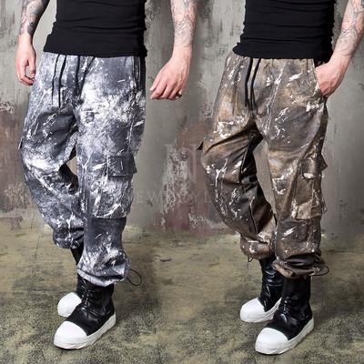 Artistic digital printed banded cargo pants
