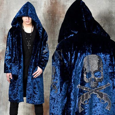 Premium beads skull blue velvet hooded long coat