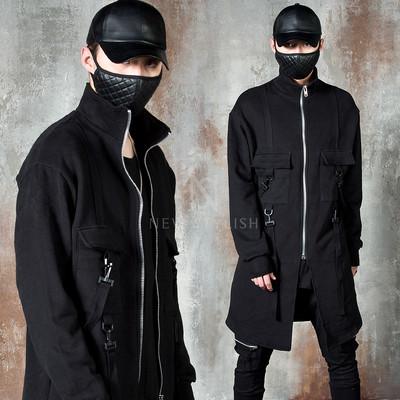 Buckle strap fleece long zip-up jacket