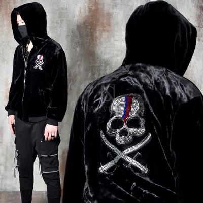 Premium fur beads skull hooded zip-up jacket