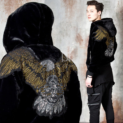 Premium fur beads eagle hooded zip-up jacket