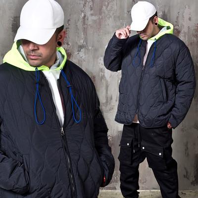 Reversible quilted wide zip-up jacket