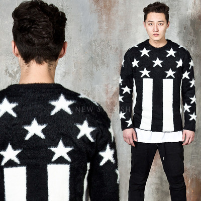 Premium star spangled banner knit fur sweater