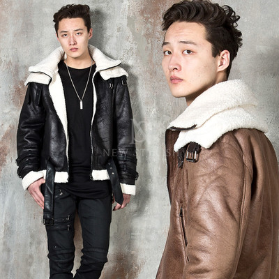High-neck double face crack leather jacket