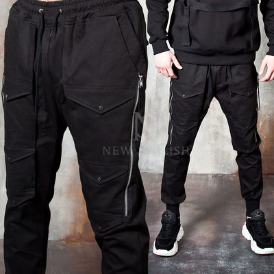 Triple pocket line long zipper pants