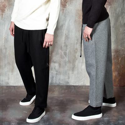Wool banded baggy pants