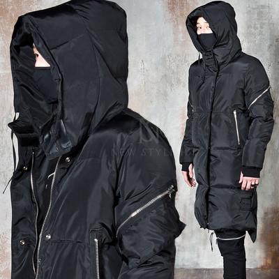 Avant-garde arm warmer hooded long parka