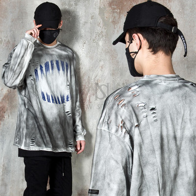 Distressed grunge washed long sleeve t-shirts