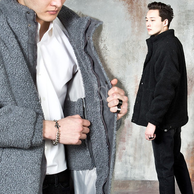 Fleece zip up turtleneck jacket