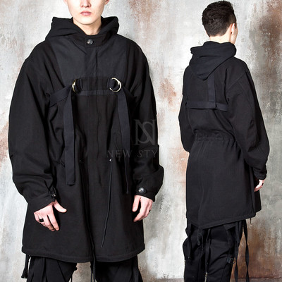 D-ring strap long zip-up jacket