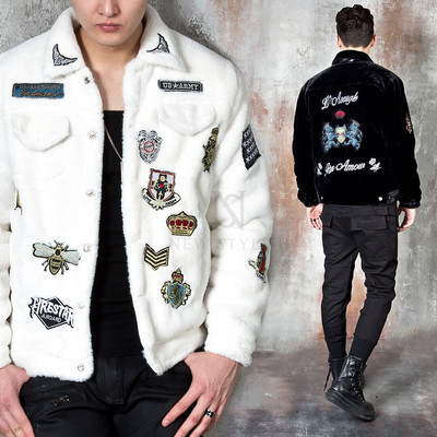 Multiple patchwork accent fur jacket