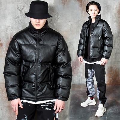 Padded zip-up leather jacket