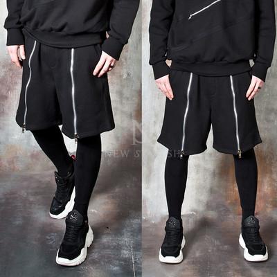 Long front zipper banded leggings pants