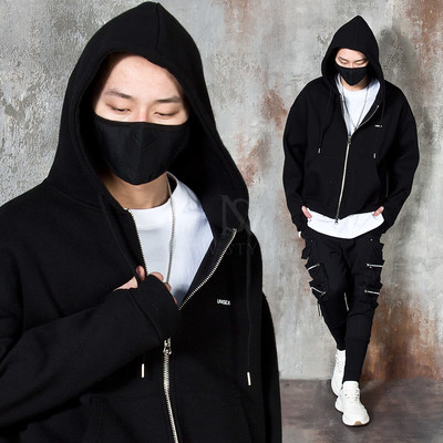 Arm-warmer zip-up hoodie