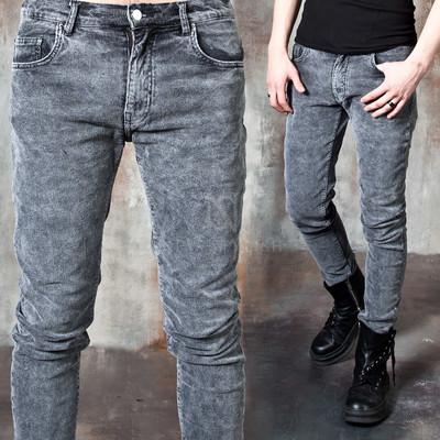 Washed corduroy slim jeans
